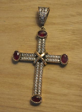 Antik Anhänger Kreuz Echt Silber Handarbeit 925 Mit Gold Cross Croce Croix Bild