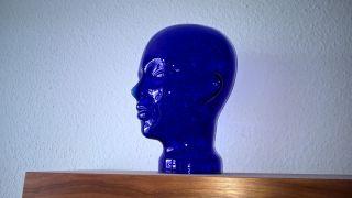 Schöner Größer Blauer Glaskopf - Vintage - 28 Cm Hoch Farbe Blau Bild