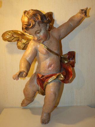 Putte Engel Große Figur Holzschnitzerei Blattvergoldet Ca 57 Cm Nr 02 Bild