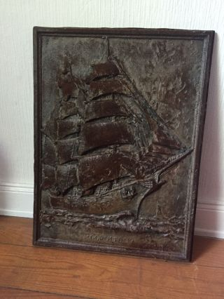 Bild Gorch Fock Segelschiff,  Massives Eisenschild,  1978,  Nautik Bild