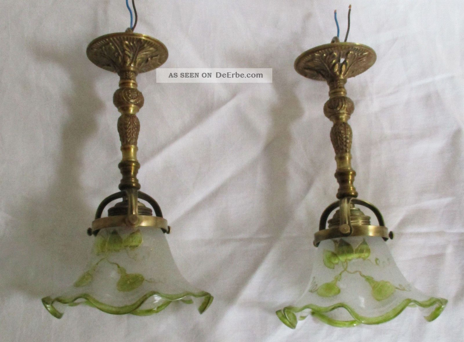 Paar selten schöne jugendstil deckenlampen glas