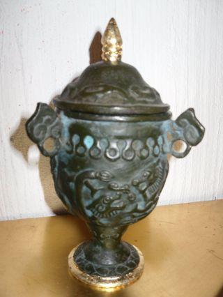 Bronze Amphore Mit Goldrand Dachbodenfund (kiste) Rarität Bild