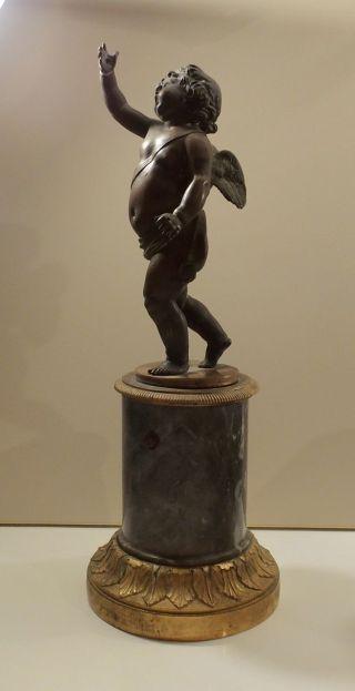 Antiker Engel Putte Auf Sockel Bronze? 35 Cm Gesamt Bild