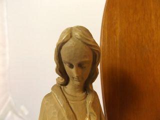 Alte Madonna (maria) Auf Einenem Holzsockel Zum Hängen Oder Stellen Bild