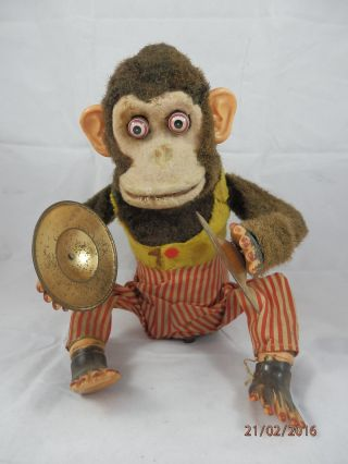 Alte Blechspielzeug Figur Batterieautomat Schellen Spielender Affe Made In Japan Bild