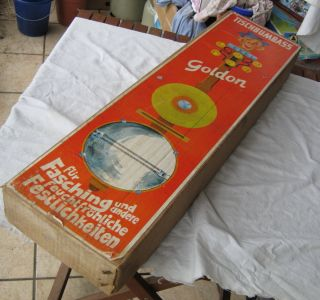 Goldon Tischbumbass Teufelsgeige Mit Schellen In Verpackung Ddr Kult 50/60iger Bild