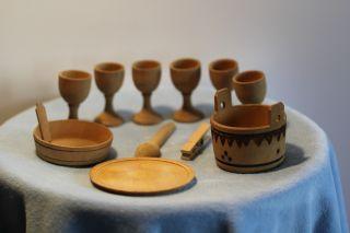 ♛ Konvolut Holzspielsachen Für Ihre Puppenküche,  Kaufladen / Eierbecher Bild