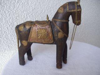 Antikes Origi.  Wunderschönes Holz - Pferd Mit Vielen Bronze/messing - Verzierungen Bild