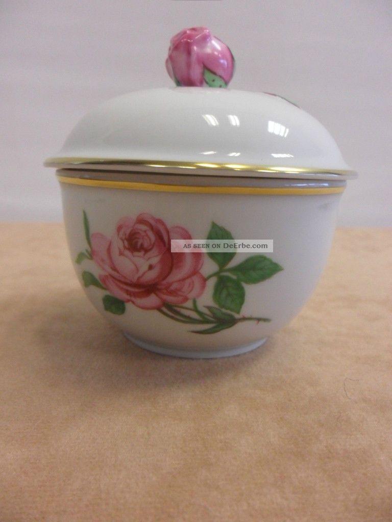 Fürstenberg Zuckerdose Rote Rose Porzellan Porcelain Sugar Bowl Sucre Bowl Nach Marke & Herkunft Bild
