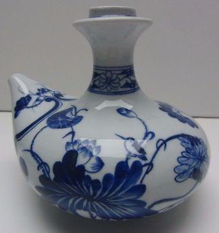 China Porzellan Kanne Vase Gefäß Krug Für Sake (?) Blaumalerei Gemarkt - Alt Bild