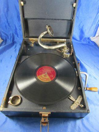Uralt Koffer Grammophone Telefunken,  Schelllack - Platte Kornblumenblau Sa Bild