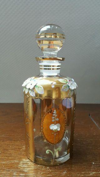 Karaffe Gefäß Glas Joska Waldglashütte Bodenmais Gold Rarität Mundgeblasen Bild