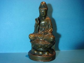 Buddha Statue / Bronze Garanti Paris - Jb Deposee.  Ca.  1900? 922gr.  20cm.  Hoch Bild