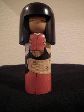 Kokeshi Holzpuppe - Japan Signiert Mit Stempel - Kokeshi Doll - 1980er Bild