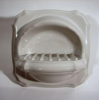 Bad Keramik Seifenschale Dusche Retro Design Weiss Bild