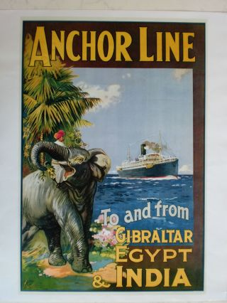 Maritim Plakat Poster Reederei Anchor Line,  Repro V.  Um 1921 - Rarität Bild