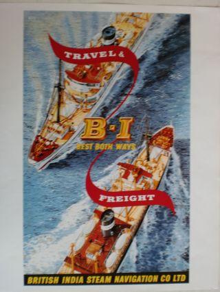 Maritim Plakat Poster Reederei British India Line,  Repro V.  Um 1951 - R Bild