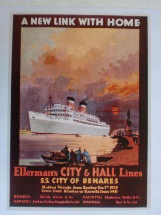 Maritim Plakat Poster Reederei Ellerman Lines,  Repro V.  V.  1936 - Rarit Bild
