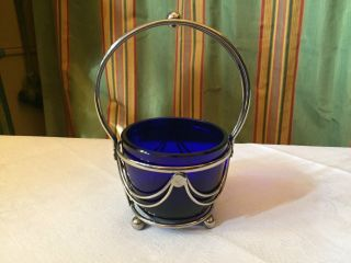 Elegante Englische Henkelschale Blause Glas Mit Metallmontierung Zuckerschale Bild