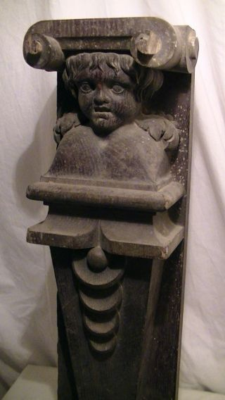 Eine (v.  Zwei) Alte Holz Schnitzerei,  Figur Säule Figürlich,  53 Cm Engel Antik Bild