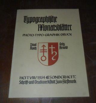 Typographische Monatsblätter - Heft 8 - Sonderheft 1934 - Paul Koch Fritz Arnold Bild