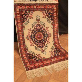 Schöner Handgeknüpfter Blumen Teppich Herati Nain Kum Carpet Tappeto 80x130cm Bild