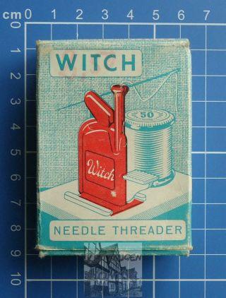 Witch Needle Threader Ca.  1950 Nadeleinfädler Einfädelhilfe Ovp Bild