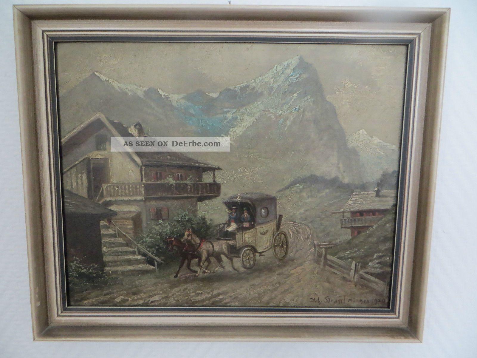 Orginal Ölgemälde Postkutsche 1920 München Antike Bild