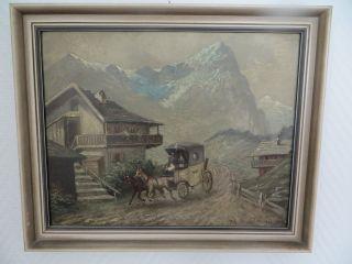 Orginal Ölgemälde Postkutsche 1920 München Bild