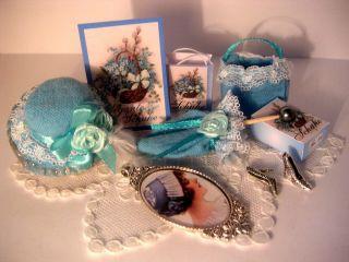 Hellblauer Hut,  Schirm,  Tasche,  Sdhuhe Für Modeladen,  Puppe 1:12 Bild