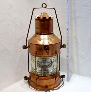 Xxxl Petroleum Schiffslaterne Ankerlicht Kupfer Messing Glas 60cm X 30cm 7,  3 Kg Bild