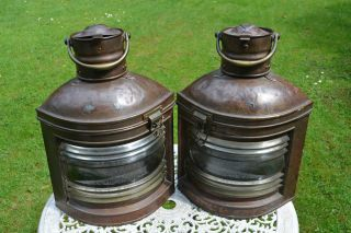 2 Positionslampen Aus Kupfer,  Ca.  130 Jahre Alt Und Noch Funktionsfähig.  H:48 Cm Bild