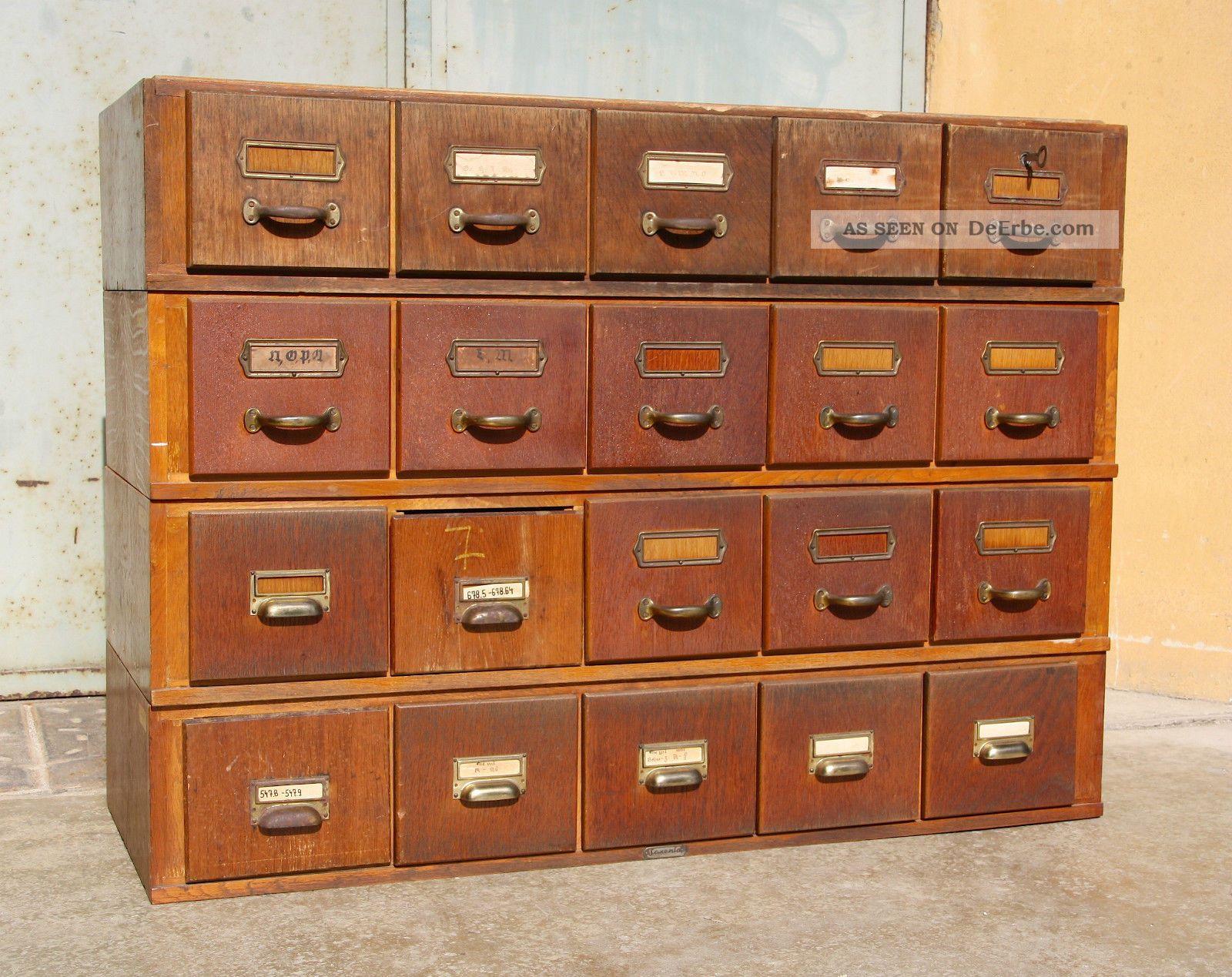 Alter Schubladenschrank Karteischrank Art Deco Schrank Loft Industrie Bauhaus Antike Originale vor 1945 Bild