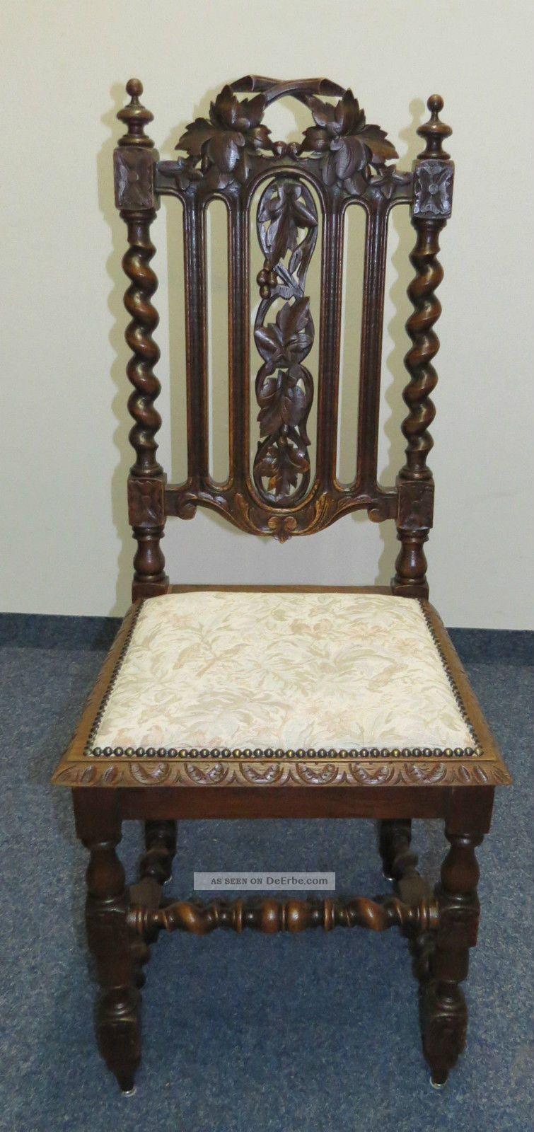 Hochwertig Esszimmer 1880 Louis Xiii Stil Eiche Aufsatz   Buffet Tisch 6 X Stuhl  Bleiglas