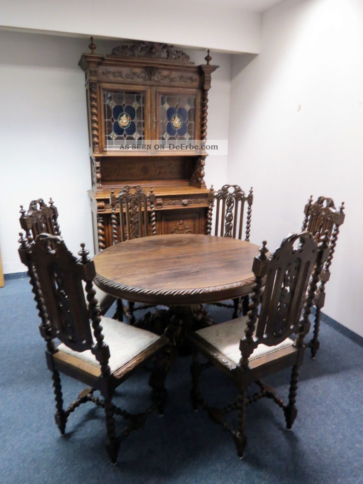 Schon Esszimmer 1880 Louis Xiii Stil Eiche Aufsatz   Buffet Tisch 6 X Stuhl  Bleiglas