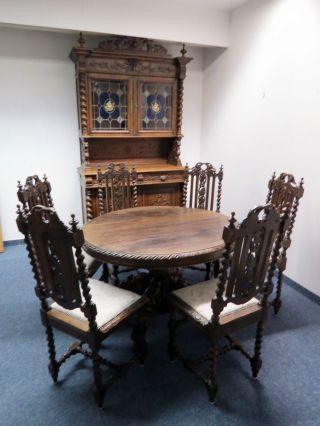 Esszimmer 1880 Louis Xiii Stil Eiche Aufsatz - Buffet Tisch 6 X Stuhl Bleiglas Bild