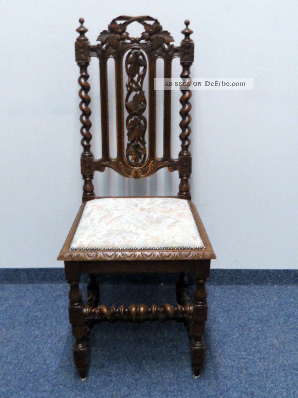 Esszimmer 1880 Louis Xiii Stil Eiche Aufsatz   Buffet Tisch 6 X Stuhl  Bleiglas