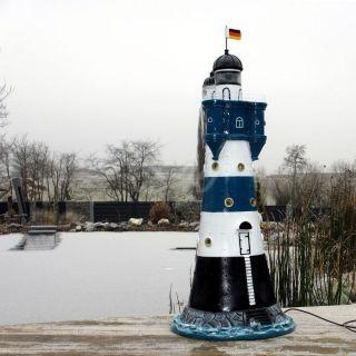 Leuchtturm Blauer Sand Blau/weiß 120 Cm Doppellicht Garten Deko Nordsee Maritim Bild