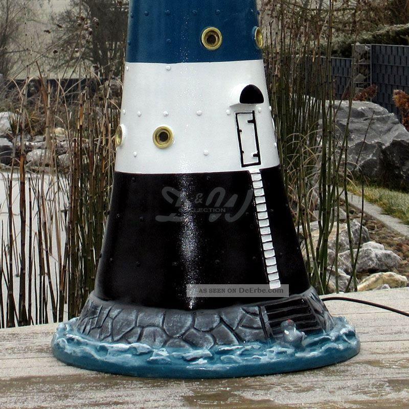 leuchtturm blauer sand blau wei 120 cm doppellicht garten deko nordsee maritim. Black Bedroom Furniture Sets. Home Design Ideas