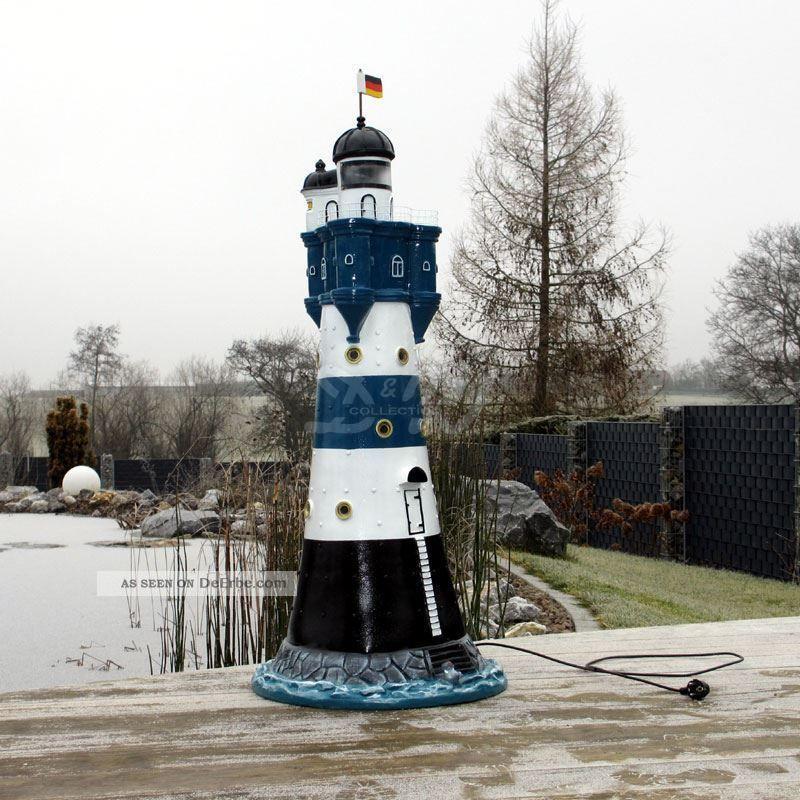 Leuchtturm blauer sand blau wei 120 cm doppellicht garten for Leuchtturm deko garten