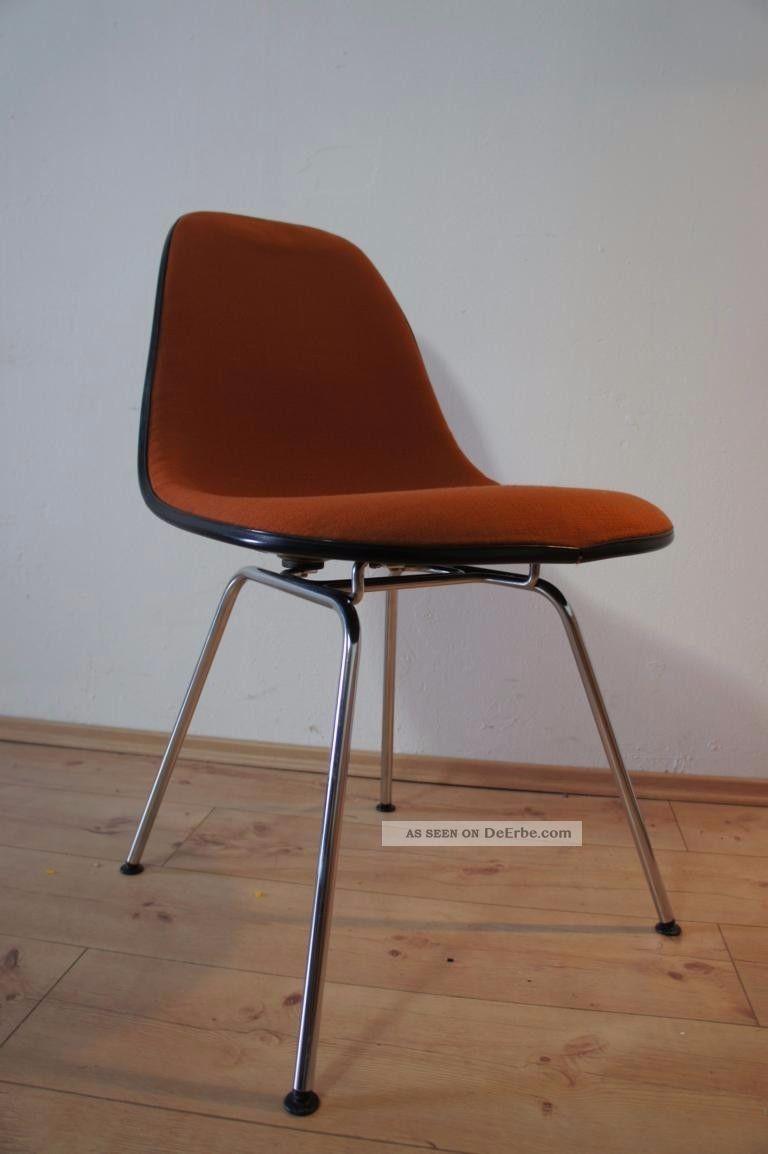 1von35 herman miller vitra side chair stuhl fiberglas hopsak orange schwarz. Black Bedroom Furniture Sets. Home Design Ideas