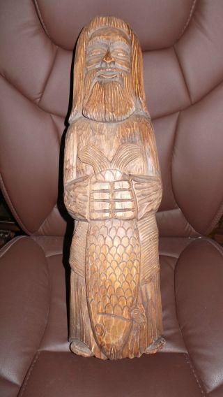 Sehr Schöne Naturholz Geschnitzt Dorffischer Figur 53 Cm. Bild