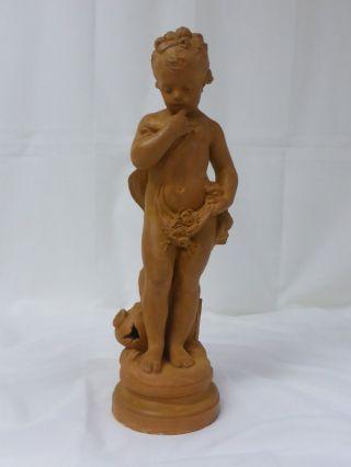 Allegorische Skulptur Tonware Terrakotta Kind Putto Undeutlich Signiert 50 Cm Bild