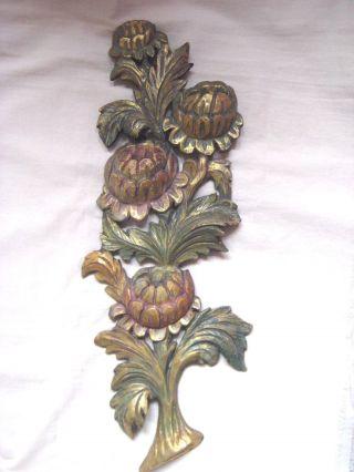 Blumen - Reliefskulptur,  Holz,  Geschnitzt,  Farbig Gefaßt,  Verzierung,  Frankreich Bild