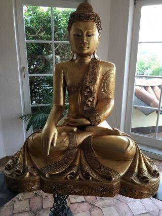 Buddha Mit Blattgold 1m Hoch Bild