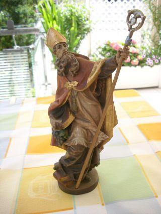 Holzfigur - Heiligenfigur - Bischof -.  Hl.  Urban - Bunt - Südtirol? - Geschnitzt - Deko - Bild