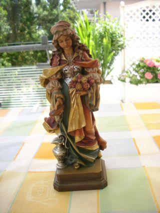 Holzfigur - Heiligenfigur - Hl.  Elisabeth - Bunt - Südtirol - Geschnitzt - Deko - Bild