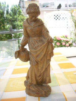 Holzfigur - Heiligenfigur - Hl.  Notburga - Magd Mit Krug - Geschnitzt - Deko - Bild