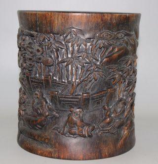 1200g Brush Pot, China Wood Schnitzerei Height 15.  2cm Bild