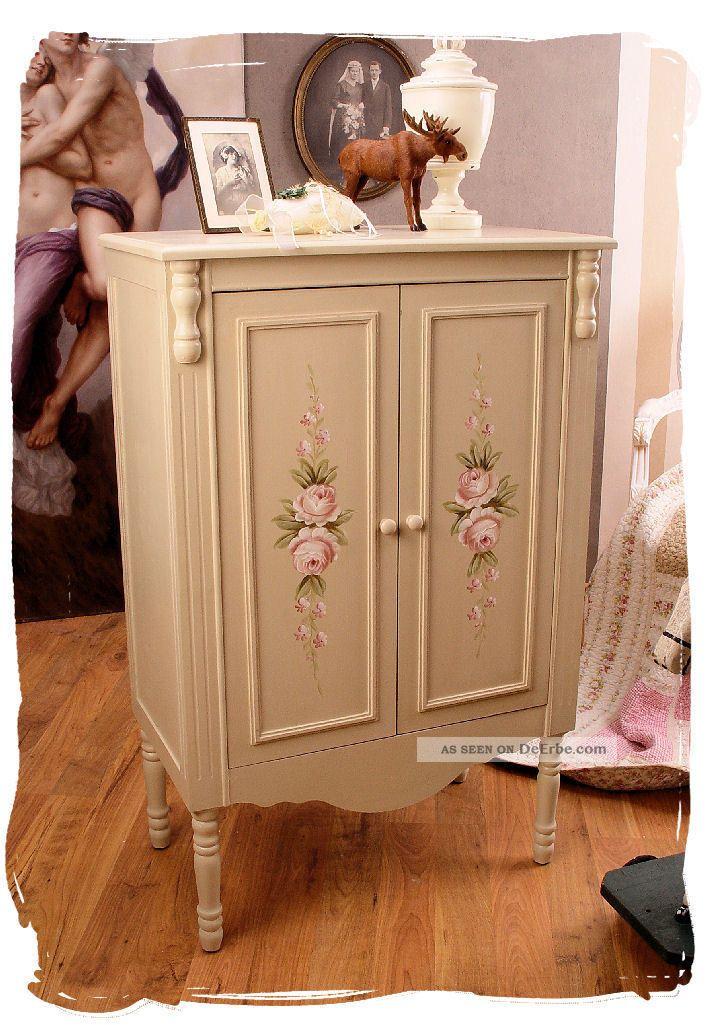 schrank landhausstil schuhschrank kleiderschrank shabby vintage rosen vertiko. Black Bedroom Furniture Sets. Home Design Ideas